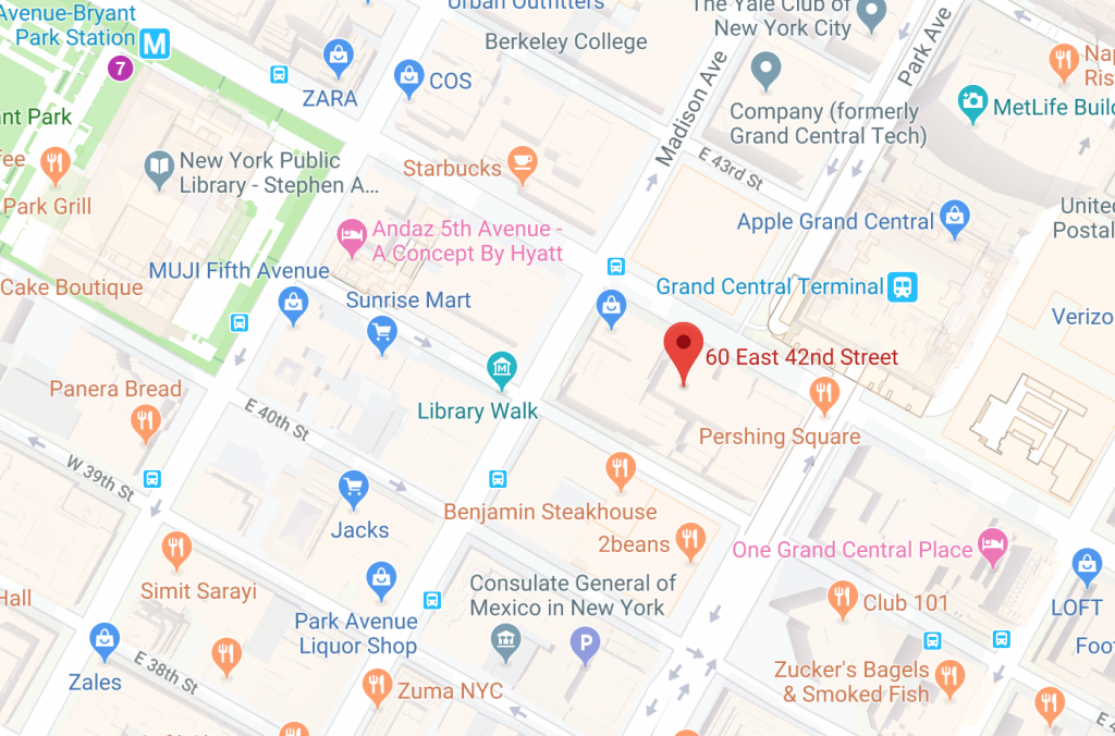 map 60 east 42nd street new york city hollis laidlaw & simon westchester mount kisco new york law city firm litigation real estate trusts & estates employment law corporate law land use & zoning
