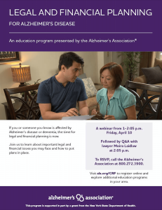 legal and financial planning webinar for alzheimer's disease hollis laidlaw & simon law firm mount kisco westchester new york